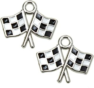 Monrocco 10pcs Enameled Checkered Flag Charms Race Car Charm Pendant for Jewelry Making Bracelet, Keychains