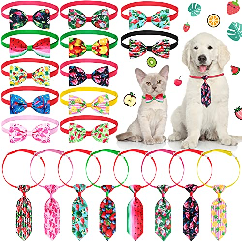 20 Pieces Summer Pet Tie Set Includes 8 Pieces Pet Neckties and 12 Pieces Pet Bow Ties with Adjustable Collar for Dogs Cats Summer Party Decoration (Fruit and Leaf Patterns)