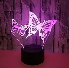 Vlinder SFALHX 3D Nachtlampje, Illusie Lamp voor Jongens, 16 Kleuren Dimbare USB Aangedreven Touch Control met Afstandsbed...