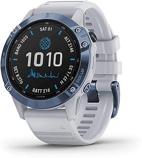 Garmin GM-010-02410-41 Fenix 6 Pro Solar Smartwatch with Whitestone Band, Mineral Blue