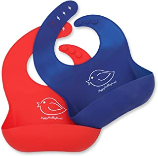 Waterproof Silicone Bib Easily Wipes Clean! Comfortable Soft Baby Bibs Keep Stains Off! Spend Less Time Cleaning After Meals with Babies or Toddlers! Set of 2 Colors (Red/Blue)
