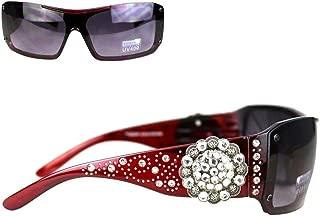 Ladies Sunglasses Silver Dots Swirl Design Rhinestones Concho UV400