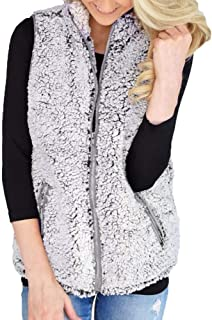 Womens Vest Winter Warm Outwear Casual Faux Fur Zip Up Sherpa Jacket