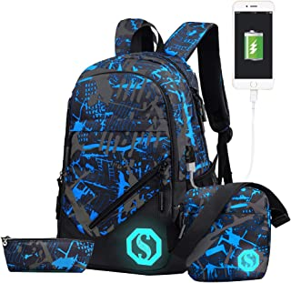 JiaYou Boy Girl Unisex 20L Fashion School Bag Backpack with Florescent Mark 3 Sets/2 Sets (20L, USB ColorG 3 Sets)