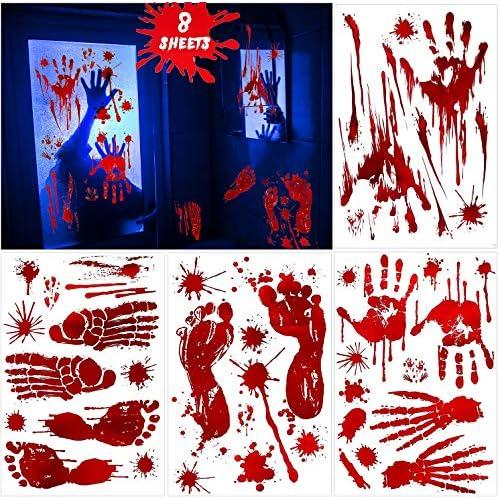 WELLXUNK Halloween Adesivi per Impronte, 8 Pezzi Adesivi Impronta Sanguinante, PVC Decalcomanie Impronta Orrore, Adesivo Sanguinante per Decorazioni di Halloween