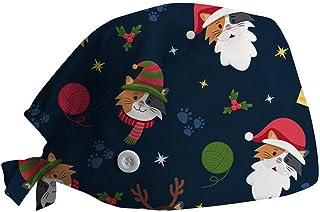 Gorros Quirofano Mujer y Hombre de Navidad, Unisex Sombreros Gorro de Lactancia con Botón Flor Corbata Algodón Ajustable G...