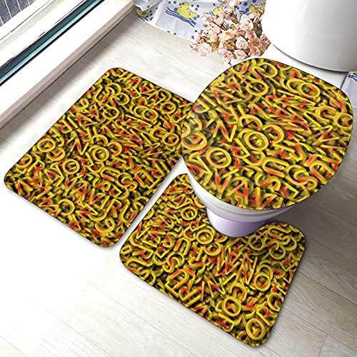 Yellow Red with The Inscription Coronavirus Bathroom Rug Mats Set 3 Piece Anti-Skid Pads Bath Mat + Contour + Toilet Lid Cover