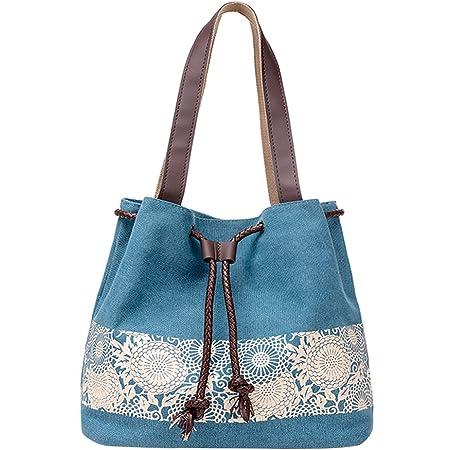 PB-SOAR Damen Vintage Canvas Shopper Schultertasche Beuteltasche Handtasche mit Kordelzug 30x29x12cm (B x H x T) (Blau)