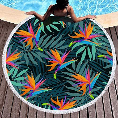 ZzheHou Simple Tropical Plant Dark Green Leaves Round Beach Yoga Mat Shawl Tablecloth Picnic Blanket 150CMX150CM