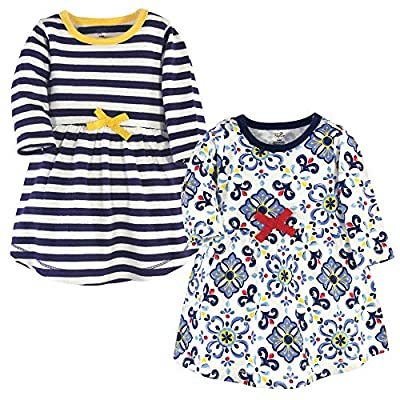 Touched by Nature Girls, Toddler, Baby and Womens Organic Cotton Short-Sleeve and Long-Sleeve Dresses, Pottery Tile Long Sleeve, 3 Toddler