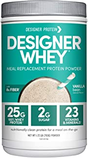 Designer Whey Protein Meal Powder, Vanilla Bean, 1.72 Pound, Non GMO, Made in the USA