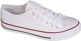 Zapatillas Canvas de Lona Unisex Mujer Hombre Estilo Casual y Deportivo, Color Blanco