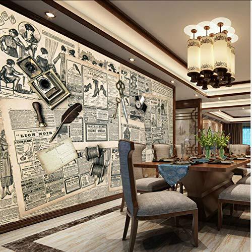 Dalxsh Papel Tapiz 3D Personalizado Para Wallsretro Periódico Fondo De Papel De Pared 3D Mural Fondos De Pantalla Mejoras Para El Hogar Decorar-120X100Cm
