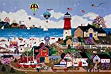 PROW Happy Town, Americana Carnival Merriment Lighthouse Coastal Jane Wooster Scott - Wooden Jigsaw Puzzle, 1000 Piece, Finish Size 30''x20'' Basswood Premium Quality
