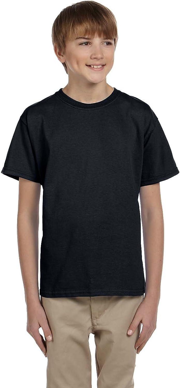 Hanes Youth 52 Oz, 50/50 EcoSmart T-Shirt - Black - M - (Style # 5370 - Original Label)