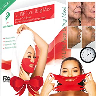 Celita Beauty V LINE lifting Mask Double Chin Reducer Skin Firming Mask Face Slimmer Face Masks Neck firming Neck Lift V Shape Mask Double Chin Remover Chin Strap 5 V Shaped Slimming Face Mask IN BOX