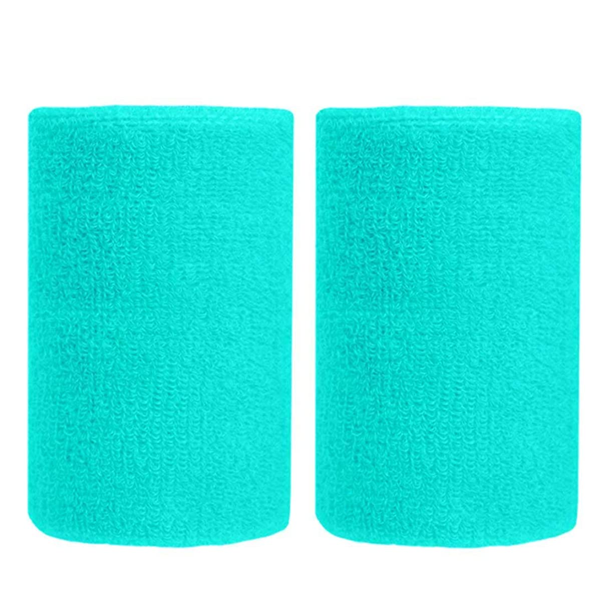 BBOLIVE 4' Inch Wrist Sweatband in 28 Different Neon Colors - Athletic Cotton Terry Cloth - Great for All Outdoor Activity(1 Pair)