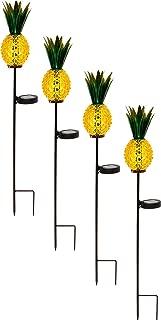 TEALP Solar Lighted Pineapple Garden Stake,Outdoor Solar Pathway Lights Waterproof Solar Landscape Lights for Garden, Path, Yard, Patio, Driveway, Walkway, Lawn - 4 Pack