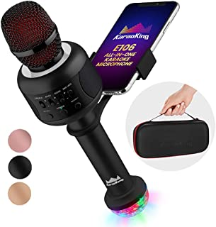 KaraoKing Karaoke Microphone - Wireless, Bluetooth Karaoke Machine for Kids & Adults - Includes Mic with Speaker, Disco Light & Phone Holder - Perfect for Rock n` Roll Parties (E106 2.0 Black)