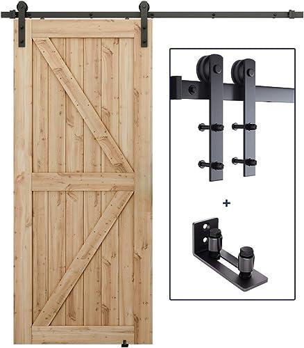 lowest 6 FT Heavy Duty Sturdy Sliding Barn Door Hardware discount Whole Kit + Barn Door Bottom Adjustable Floor online sale Guide Roller outlet online sale