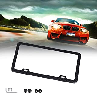 ECCPP License Plate Frame Protect Plates Universal License Plate Covers with Screws for US Vehicles (1Pcs 2 Holes Black)