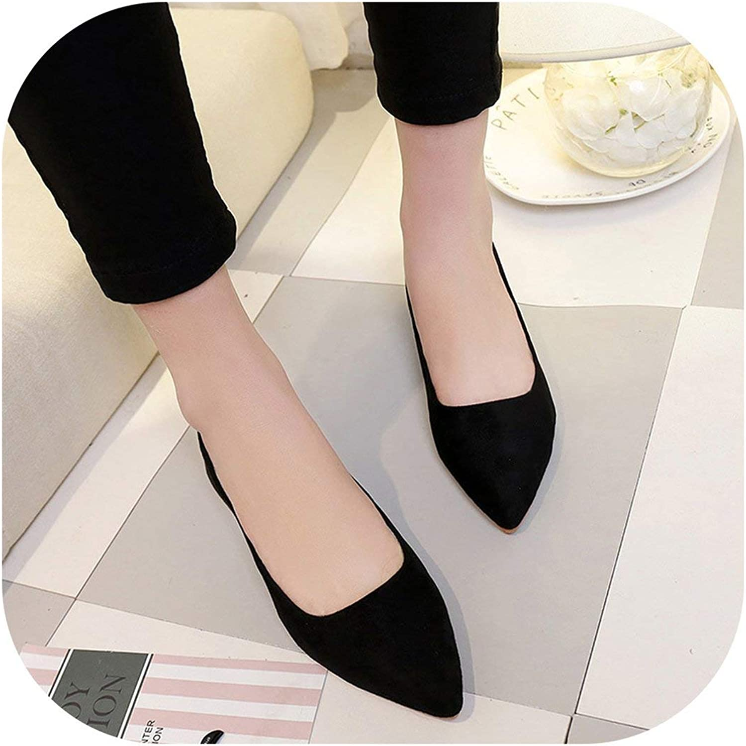 Women Suede Flats Fashion Basic Mixed colors Pointy Toe shoes