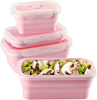Keweis Silicone Lunch Box, Collapsible Folding Food Storage Container with BPA Free Lids, Kitchen Microwave Freezer and Dishwasher Safe Kids