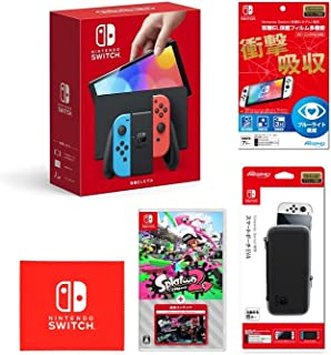 Nintendo Switch(有機ELモデル) Joy-Con(L) ネオンブルー/(R) ネオンレッド+【任天堂ライセンス商品】Nintendo Switch (有機ELモデル)専用有機EL保護フィルム 多機能+Nintendo Switc...