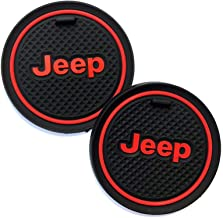 2.75 inch Car Interior Accessories Anti Slip Cup Holder Insert Coaster Mat fits Jeep Grand Cherokee Wrangler Compass Cherokee Renegade Patriot Grand Comander Decoration,etc All Models 2 Pack (Red)