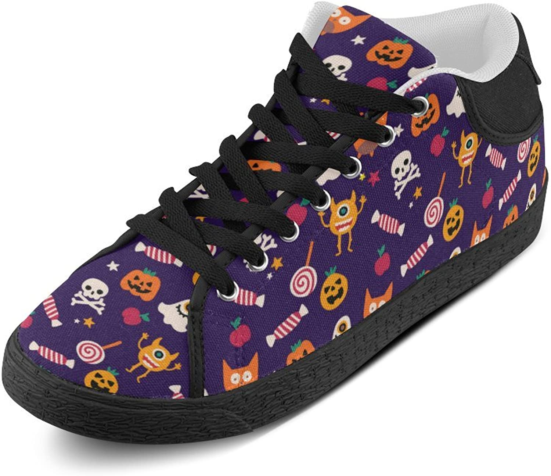 CERLYRUAN Halloween Patterns Canvas Chukka Canvas Women's shoes Black