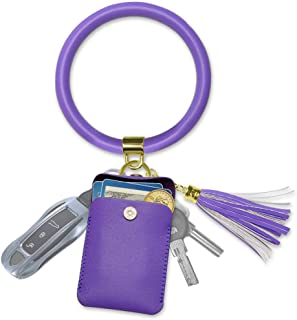 Black and Purple Pretty Modern Flowers Key Fob Wristlet Keychain