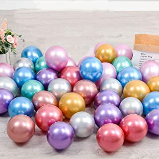 100pcs 13cm Tiny Mixed Chrome Metallic Latex Balloons for Birthday Party Bridal Baby Shower Engagement Wedding Party Decor...