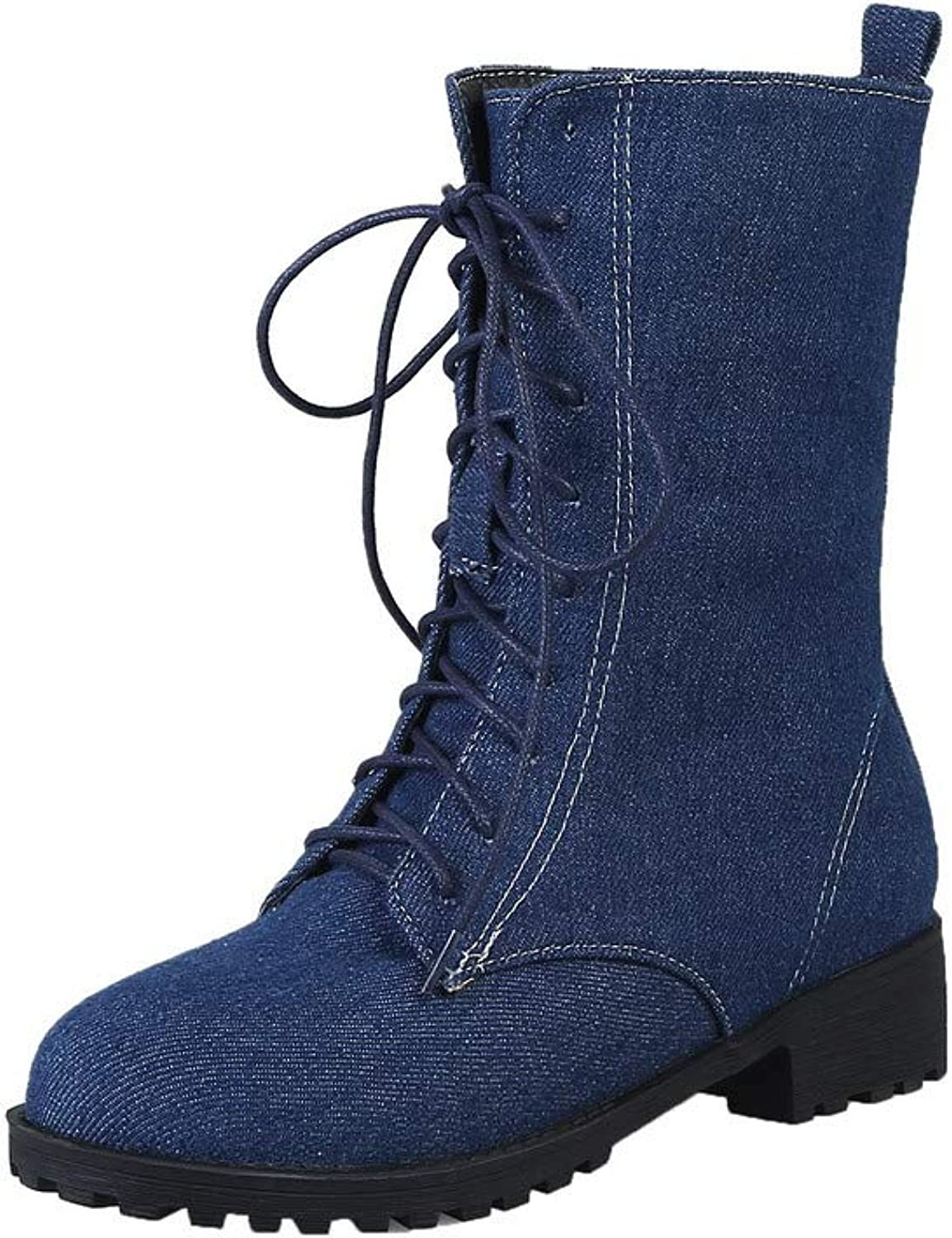 WeiPoot Women's Lace-Up Round-Toe Low-Heels Denim Low-Top Boots, EGHXH112744