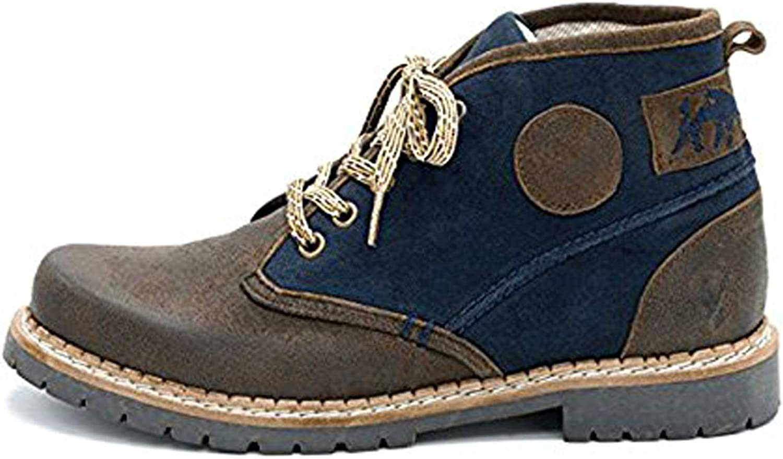 Spieth & Wensky Herren Trachtenschuhe Stiefel Irland Nappa Canvas Russ braun blau