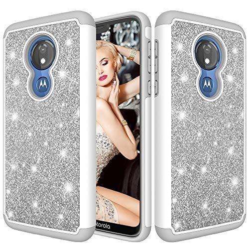 Modieuze stijlvolle telefoonhoes telefoonhoes voor Motorola Moto G7 energie US versie glitter poeder contrast huid schok- siliconen + PC beschermhoes voor meisjes jongens mannen vrouwen, grijs