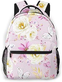 Mochila Tipo Casual Mochila Escolares Mochilas Estilo Impermeable para Viaje De Ordenador Portátil hasta 14 Pulgadas Bonita Flor Rosa Rosas Blancas