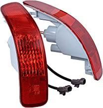 Left Right Rear Bumper Side Marker Reflector Tail Lights with 21W Bulbs Compatible with 2007-2012 Mitsubishi Outlander Peugeot 4007 Citroën C-Crosser (Driver Passenger Side)
