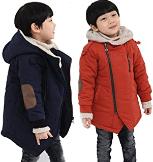 TiTCool Children Zipper Jackets Boys Hooded With Fur Outerwear Warm Winter Clothing