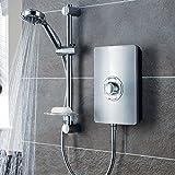 iBathUK 8.5kW Triton Aspirante Brushed Steel Thermostatic Electric Shower