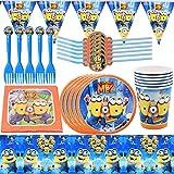 Set de Fiesta de Cumpleaños YUESEN 47 Piezas Minion Juego Tema Party Supplies Decoraciones de Vajilla Suministros Fiestas de Party Cumpleaños Vajilla Sirve para 6 Invitados