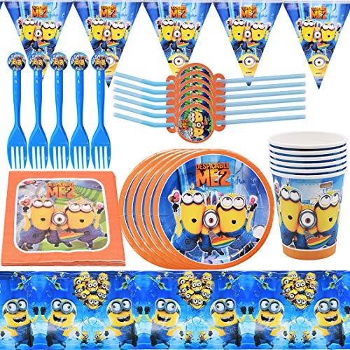 YUESEN Toppers Torta di Compleanno a Tema 47 Pezzi Decorazioni per Feste a Tema Posate Minions Party Forniture Compleanno Party Festa Decorazione Include Posate,Tovagliei(6 Persone)