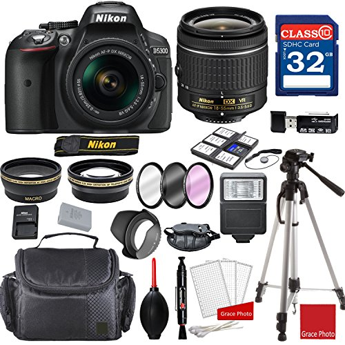 Nikon D5300 DX-Format Digital SLR w/AF-P DX NIKKOR 18-55mm f/3.5-5.6G VR Lens + Professional Accessory Bundle