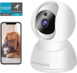 Wireless Pet Camera 1080P FHD, WiFi Dog Camera and Two Way Audio, Indoor Cat Camera and Motion Tracking/Detection, Night Vision, IP Camera Pan/Tilt/Zoom, Cloud Storage/Micro SD Card, iOS/Android