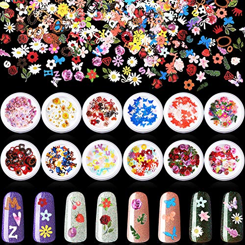 12 Boxes 3D Mixed Nail Art Decals Sticker Colorful Mixed Flowers Leaves Number Butterfly Design Slice Nail Flakes for Nail Face Body Decoration DIY Crafting