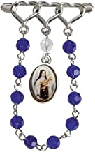 Gifts by Lulee, LLC Saint Therese of Lisieux Silver Plated Lapel Pin Chaplet with Glass Beads and Blessed Holy Card