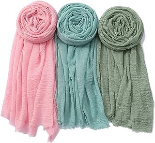 NUR   Premium Cotton Scarf   Soft Shawl   Head Wrap   Hijab for Women   Set of 3