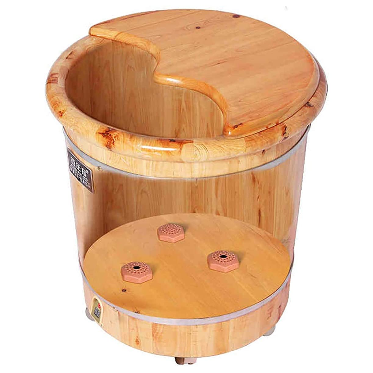 裏切り者市の中心部マトン足浴槽バスタブ家庭用木製指圧一定温度木製バレルフットバス加熱42CM高い