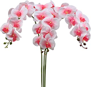 SHACOS Artificial Orchid Stems Set of 3 PU Real Touch Orchid 38inch Tall Fake Butterfly Phalaenopsis Flower Home Wedding Decoration (Pink Center, 3 PCS)