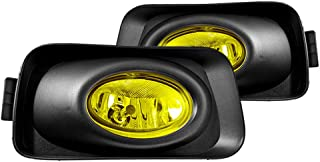 Winjet Fog Lights Compatible With 2004-2005 Acura TSX   Factory Style Polycarbonate Resin Black Housing Yellow Lens Driving Running Foglight Foglamp Lamps LED Super Bright