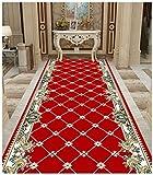 SSH Alfombra rectangular de gran área roja, moderna, sencilla, muy larga, para pasillo y pasillo, longitud a medida, se vende y precio por metro (color: rojo, tamaño: 1,4 x 6 m)